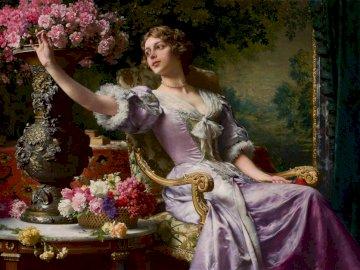 Lady in a lilac dress with flowers - Lady in a lilac dress with flowers (For him) - oil painting by Władysław Czachórski, painted arou