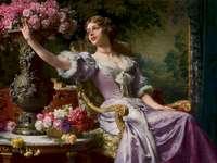 Dame en robe lilas à fleurs