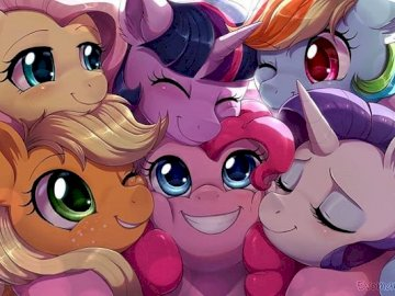 Twilight and her friends - Twilight and her happy friends giving a group hug