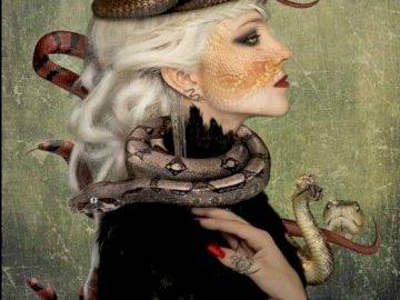 wężowa dama - obraz wężowej damy w koronie