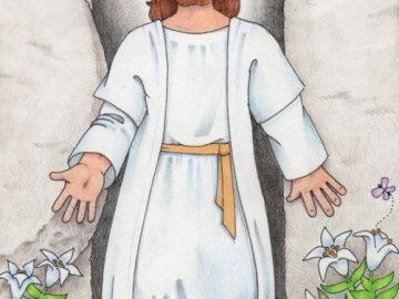Jesus is risen - Jigsaw puzzle for children. It can be used as a tool for lessons during Easter