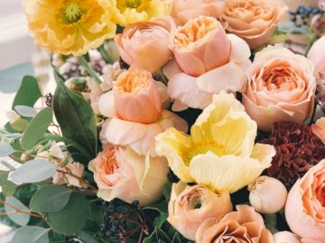 Bouquet de fleurs, fleuriste - Un bouquet de fleurs de pêche, fleuriste