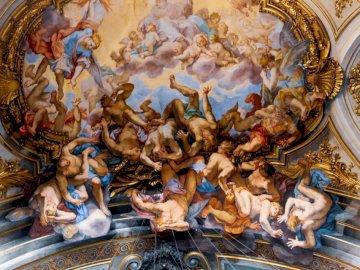 Basilica dei Santi XII - People sitting on floor painting. Rome