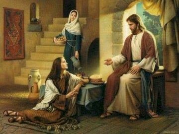 Marta i Maria - Wykonaj zadanie ułożenia Puzzli z obrazka Marty i Marii na spotkaniu z Panem Jezusem. Temat Katec