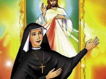 Sister Faustina and the image of Merciful Jesus - Sister Faustina fulfilled Jesus' wish to paint a picture with the image of Merciful Jesus wi