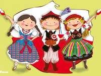 Contour polonais - Enfants en costumes nationaux dans le contexte de la Pologne