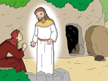 María Magdalena y Jesús en la tumba - Encuentro del Resucitado con María Magdalena