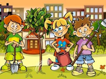 Работете в градината - Пъзел изобразява деца, работещи в градината.
