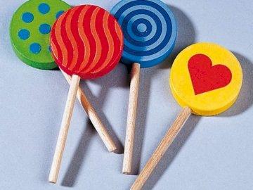Four lollipops - Four wooden lollipops - puzzles for children