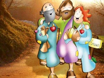 Jezus, uczniowie, chleb, Emaus - Jezus zmierzający do Emaus z uczniami