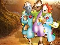 Jesus, Jünger, Brot, Emmaus - Jesus geht mit seinen Jüngern nach Emmaus