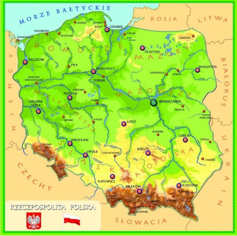 Карта на Полша - Карта на Полша. Географска карта на Полша Отблизо карта (5×5)