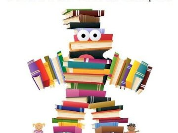 giornata del libro - l'immagine mostra un uomo creato da libri colorati