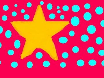 STAR - ÉTOILE D'OR SUR UN FOND ROSE. Un gros plan d'un logo.