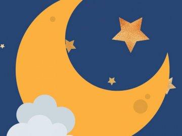 luna - Espacio de rompecabezas lunar Un primer plano de un logotipo.