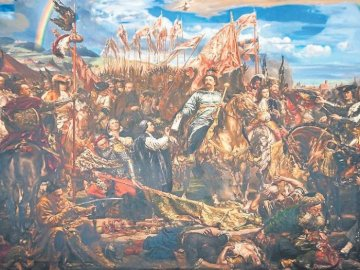 Jan Trzeci Sobieski near Vienna. - The great success of the Polish hussars at the Battle of Vienna. A painting of a canyon.
