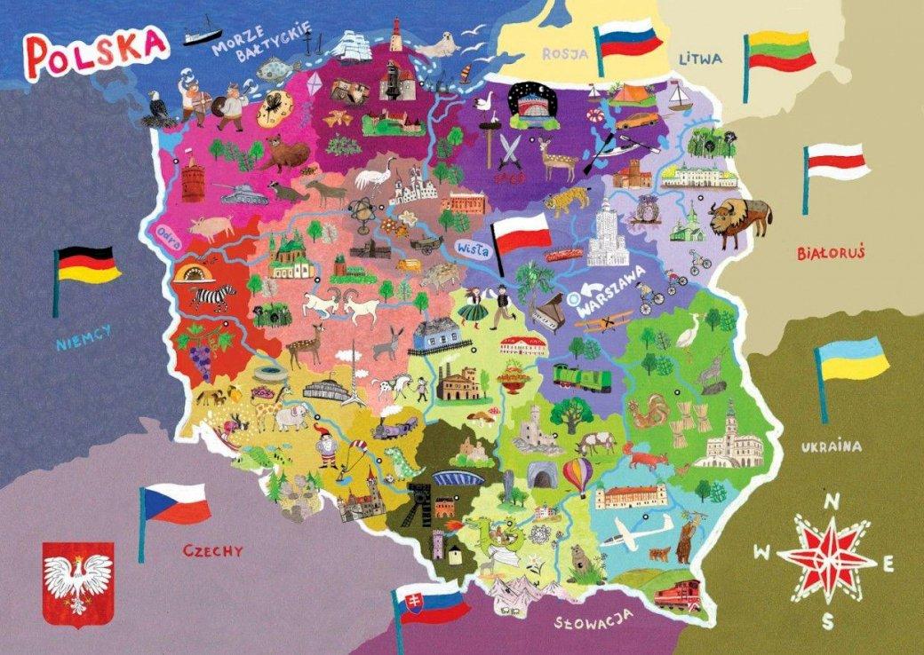 Attrazioni della Polonia - Metti insieme l'immagine. Una stretta di una mappa (6×5)