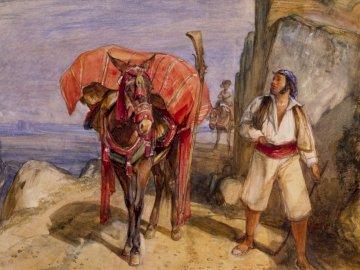 Mule et muletier, 1832-1834 - Homme debout à côté de la peinture de cheval. Birmingham, Royaume-Uni