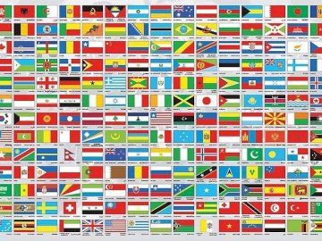 Banderas del mundo - Banderas del mundo, rompecabezas. Una captura de pantalla de un videojuego.