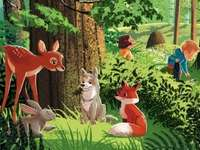 Nature forest - Nature puzzles for three-year and four-year-old children. A group of stuffed animals that are in the
