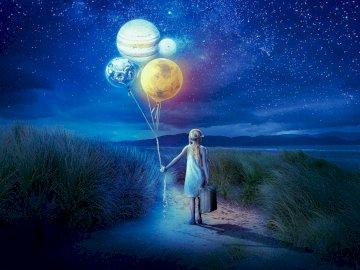 Niña y planetas - planetas como globos ----------.