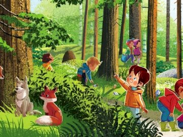 FOREST ecology - Ecology for young children. A group of people that are standing in the grass.