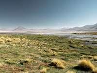 Планина, планини, хълм, - Поле със зелена трева близо до водно тяло под синьо неб