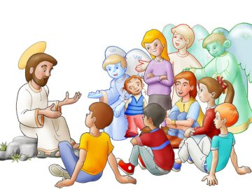 Jesus is with us - Children become aware of the presence of the Lord Jesus in their lives. A group of people in a room.