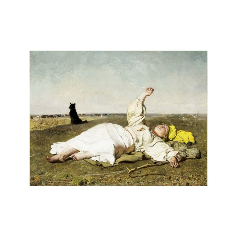 Chełmoński Storks - A well-known image of Chełmoński Storks - nature, nature, village, idyll. A person sitting on the ground (12×15)