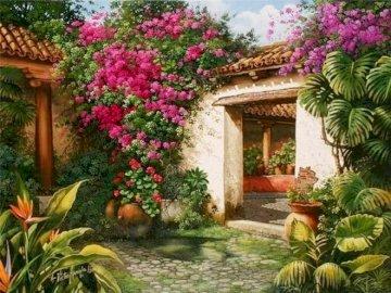 residenza - Residenza, patio, giardino, fiori. Una stretta di un giardino fiorito.