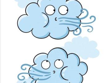 Nuages de printemps - Signes de printemps, nuages, brise. Un gros plan d'un logo.