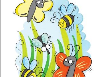 Fleurs et abeilles - Signes de printemps, pollinisation des fleurs. Un gros plan d'un logo.