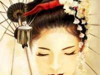 japanische Geisha - Puzzle einer Geisha. Eine Person, die ein Kostüm trägt.