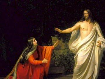 Jesus and Maria - Jesus and Mary Magdalene on Easter Sunday. A woman in a yellow dress.