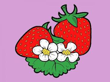 truskawki - Czerwone truskawki z białymi kwiatami.
