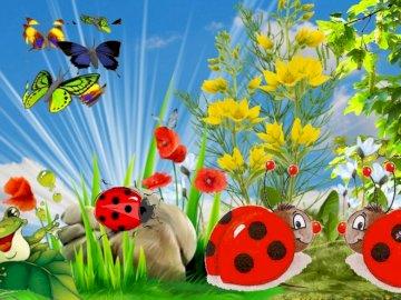 Wiosna na łące - Obrazek z wiosną na łące. Grupa kolorowych kwiatów.