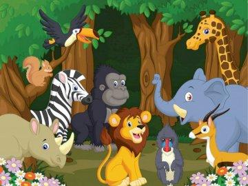 Animale sălbatice - Puzzle de animale sălbatice.