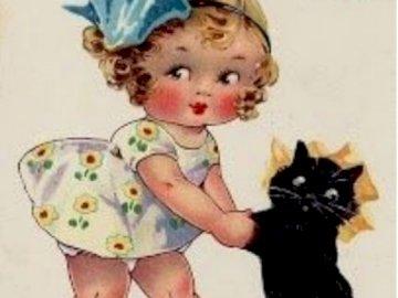 můj malý černý kocourek - můj malý černý kocourek. A baby holding a stuffed animal.