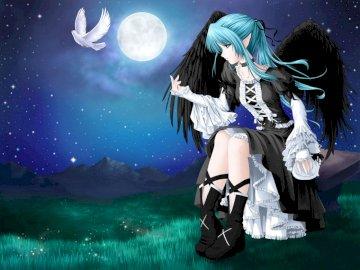 Engel mit Taube am Abend - Engel mit Taube am Abend. Eine Frau sitzt auf einer Bühne.