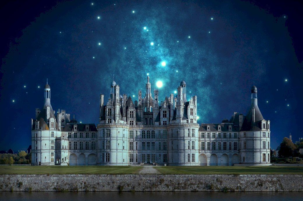 прекрасен замък през нощта (10×10)