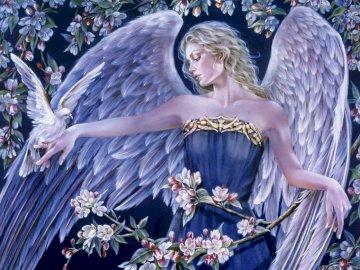 Der Engel der Liebe - Schöner Engel der Liebe. Eine Statue einer Person.