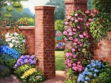 Ogród. B. Zajączkowska. - Malarstwo B. Zajączkowskiej. Kolorowy ogród kwiatowy przed ceglanym budynkiem.