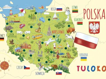 Puzzle Poland - Puzzles prepared for preschoolers. A close up of a map.
