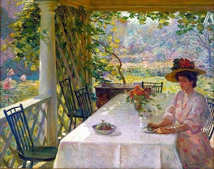Жена, пиеща чай - Жена, пиеща чай, градина, рисуване (W.Chadwick). Човек, седнал на маса (9×8)