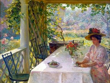 A woman drinking tea - Woman drinking tea, garden, painting (W.Chadwick). A person sitting on a table.
