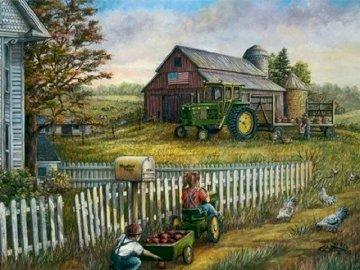 Rural landscape. - Rural landscape. Group of people sitting in the yard.