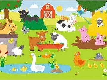 Zwierzęta na wsi - Spróbuj ułożyć puzzle i nazwij zwierzęta.