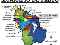 Hádanky obce San Juan de Pasto - Naše obec San Juan de Pasto. A zblízka mapy.