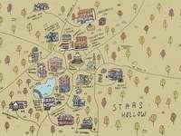 Plan de Stars Hollow - une carte de dessin animé d'étoiles creuses (filles gilmore). Un gros plan d'une carte.