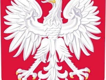 Nationale Symbole - Polen, nationales Symbol, Emblem. Eine Nahaufnahme eines Logos. Arrangiere Puzzle - Bilder, mach dic